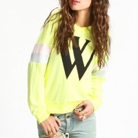 wildfox couture - women's varsity cheer gidget beach jumper (desert sun) - wildfox couture | 80's Purple