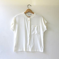 90s white short sleeve blouse. Liz Claiborne sheer shirt. cap sleeves.
