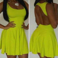 Yellow Backless Pleated Dress
