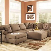 FINN - LARGE MODERN MOCHA MICROFIBER LIVING ROOM SOFA COUCH CHAISE SECTIONAL SET
