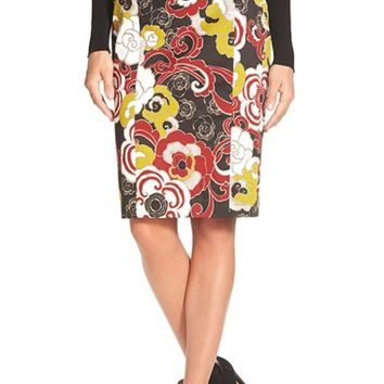 Women's Pink Tartan 'Harlow' Floral Print Stretch Cotton Pencil Skirt,
