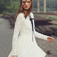 White Lace Fit + Flare Mini Dress