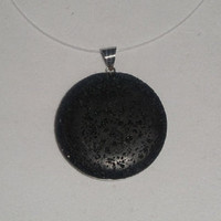 Womens Black Stone & Sterling Silver Pendant Necklace