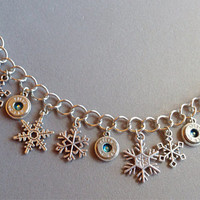 Bullet jewelry. Bullet casing charm bracelet with snowflakes.
