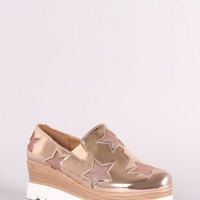 Metallic Glitter Stars Accent Lug Sole Loafer Wedge Sneaker