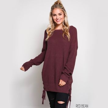 no bad days side grommet sweater - red bean