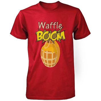 Grenade Waffle Boom Men's Graphic Shirt in Red Humorous Tee Funny Unisex Tshirt