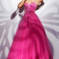 A-line Sweetheart Organza Floor-length Prom Dress With Sequin at Dresseshop