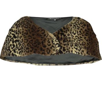 Marina Women's Faux Fur Animal Print Wrap