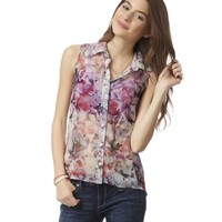 SHEER BLOSSOM SLEEVELESS TOP