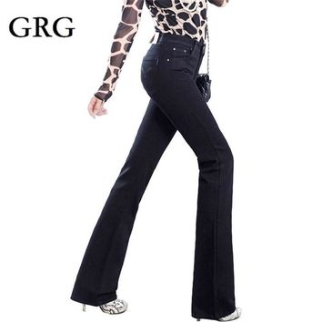 Free Shipping High Quality Women's Boot Cut Color Black Plus Long Jeans High Waist Wi