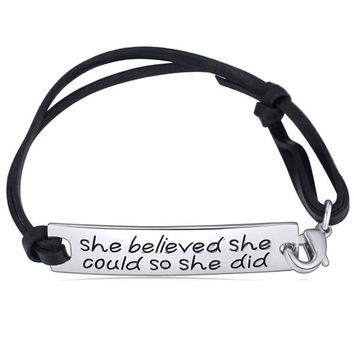She Believed She Could So She Did Hand Stamped Bracelet