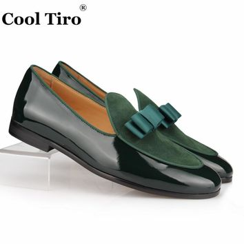 COOL TIRO Patent Leather and Suede Loafers Men Slippers Bowknot