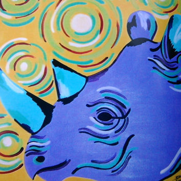 ACEO Rhino Print Purple and Blue with Colorful Swirls Original  2.5 x 3.5 Inches Lustre Print Animal Art Gift Idea Collector Art Collection