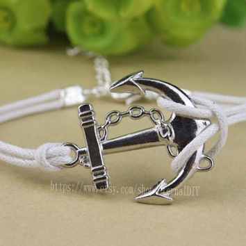 Silver white wax rope anchor bracelet, pirate ships anchor bracelet, navy bracelet