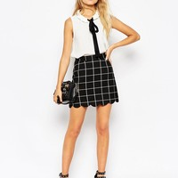 ASOS | ASOS A-Line Check Scallop Hem Mini Skirt at ASOS