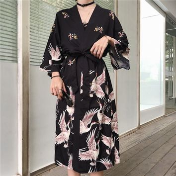 2018 Casaul Japanese Style Loose 3/4 Sleeve Bird Print Chiffon Kimonos Women Loose Vintage Japan Black Print Chiffon Shirts Top