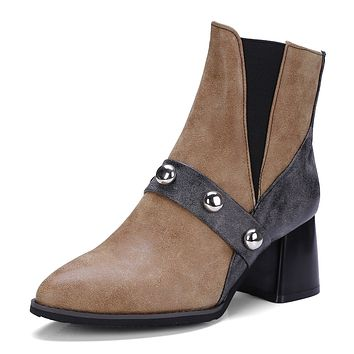 Pointed Toe Patchwork Studded Ankle Boots Mid Heels Shoes 5102