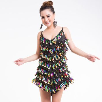 Luxury Adult Dance Performance Latin Dance Dress Handmade Water Laser Sequins Coins Sexy Party Mini Slip Dress