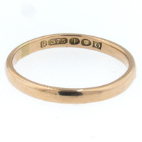 1944 WW2 London 9K Gold Wedding Band - Larger Size
