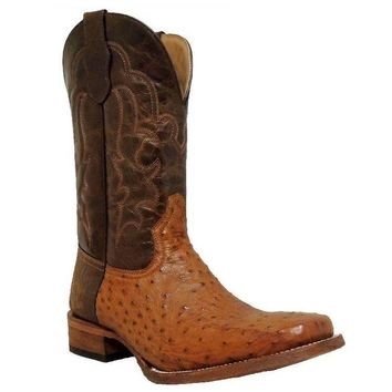 Circle G by Corral Mens Antique Saddle Full Quill Ostrich Boots L5110