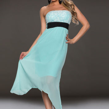 Blue Strapless Lace Chiffon Overlay Maxi Dress