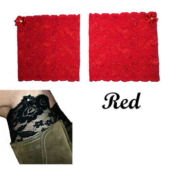 Red Floral Scalloped Stretch Lace Satin Rhinestone Peek a Boo Boot Cuffs Lacey Boot Cuffs Boot Toppers