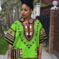Unisex Dashiki Green African Shirt - Kings and Queens