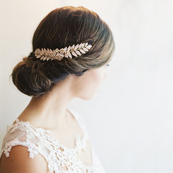 Grecian leaf hair piece bridal clip by EricaElizabethDesign