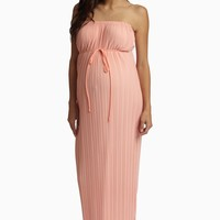 Peach Pleated Chiffon Strapless Maternity Maxi Dress