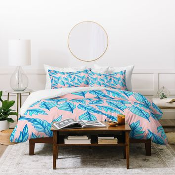 Lisa Argyropoulos Blue Leaves Pink Duvet Cover