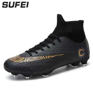 sufei Newest Men Soccer Shoes FG Superfly VI Football Boots High Ankle Athletic Outdoor Training Soccer Cleats Sport Boots