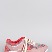 Bamboo Aztec Neon Glitter Lace Up Sneaker