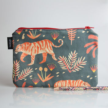 Pencil Case - Handmade with Autumn Leaves Print