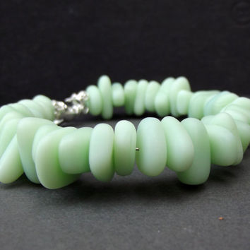 Opaque Seafoam Green Bracelet:  Light Green Sea Glass Pebble Bracelet, Chunky Beaded Bracelet, Fall Autumn Beach Jewelry