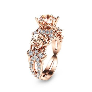 Special Reserved - 14K Rose Gold Morganite Engagement Ring Unique Morganite Engagement Ring - first payment