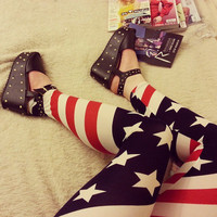 American Leggings Flag Fourth 4th July Festival Stretch Leggings