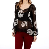 Black/White Floral Skull Top