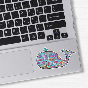 Small Paisley Whale Laptop Sticker - Colorful Beach Bumper Sticker Car Decal Cute Animal Nautical Ocean Pink Blue Teal Orange White