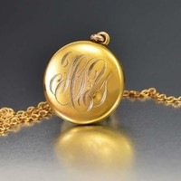 Charming Edwardian Gold Filled Initial Locket Necklace