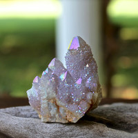 Angel Aura Spirit Quartz Cluster // Wiccan Altar Supplies // Angel Aura Crystal / Crystal Specimen / Cactus Quartz / Rainbow Crystal Cluster