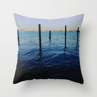 Decorative Photo Throw Pillow Cover Blue Ombre Sea Ocean Water Pier Seattle Home Decor 18x18 Gift for Mom Gift for Her Gift for Him