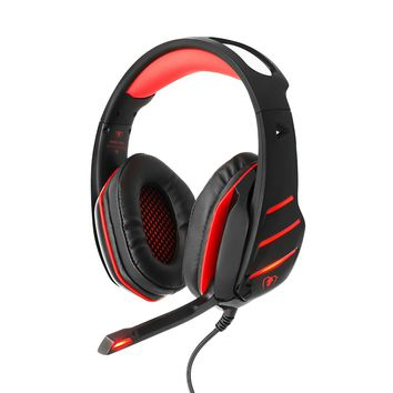 BlueFire PS4 Headset Bass Stereo Over-ear Gaming Headphone with LED Light, Volume Control and Noise-Canceling Mic for PS4 / New Xbox One / Xbox One S / Xbox One X / Nintendo Switch / PC / Phones(Red)