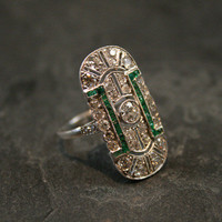 Edwardian Emerald & Diamond Plaque Ring by Ruby Gray's | Ruby Gray's Antique & Vintage Rings