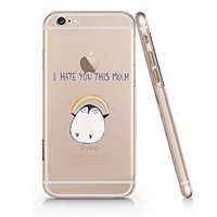 "Cute Penguin ""I Hate You This Much"" Transparent Plastic Phone Case for Iphone 6 6s^_^ Yurishop"