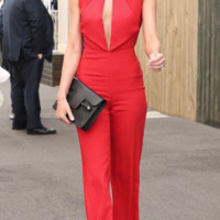 'Hadleigh' Keyhole Jumpsuit - Red