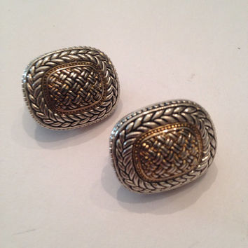 Vintage Silver and Gold Textured 1980s Earrings Costume Jewelry