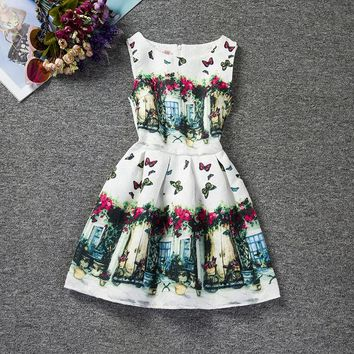 Children's Clothing Girl Floral Dress butterfly printed princess party dress for teen Girl Wedding 6-12 years girls kids clothes