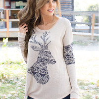 Beige Deer Print Long Sleeve T-Shirt