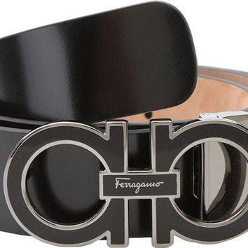 LMFON Tagre? Salvatore Ferragamo Men's Adjustable Shiny Lux Nero Belt 36